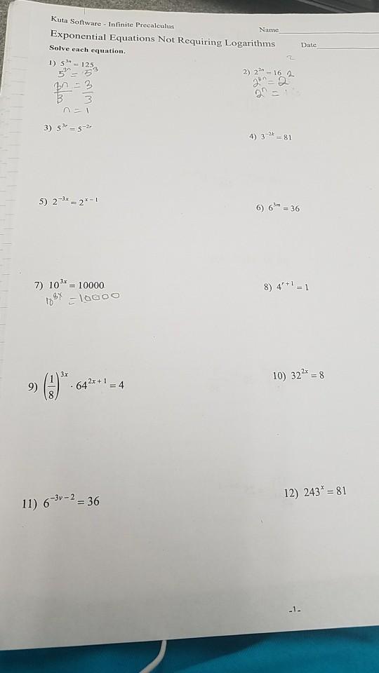 Solved Kuta Software Infinite Precalculus Exponential Eq