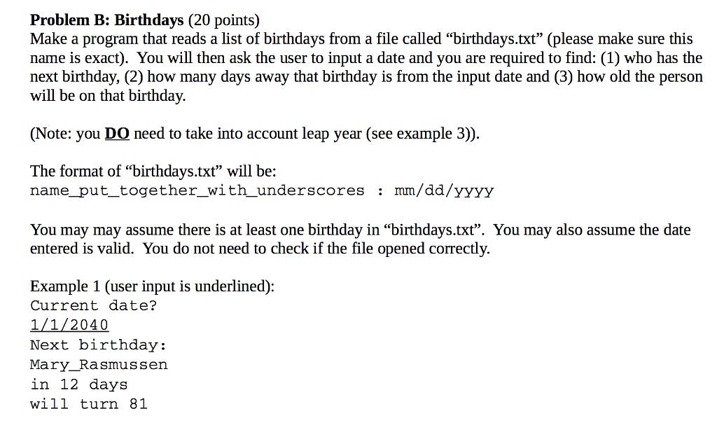 solved problem b birthdays 20 points0 make a program th