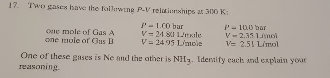 17. Two gases have the following P-V relationships at 300 K: one mole of Gas A one mole of Gas E P = 1.00 bar V= 24.80 L/mole V= 24.95 L/mole P = 10.0 bar V= 2.35 L/mol V= 2.51L/mol One of these gases is Ne and the other is NH3. Identify each and explain your reasoning.