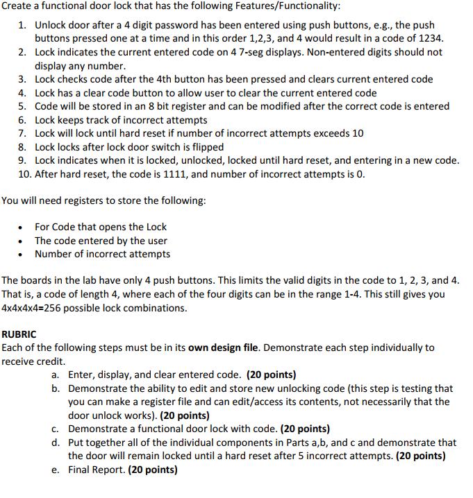 Create A 4-digit Keypad Lock  Please Help! Create     | Chegg com