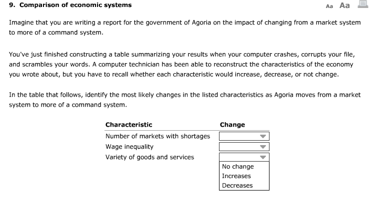 Premise Indicator Words: Solved: 9. Comparison Of Economic Systems Imagine That You