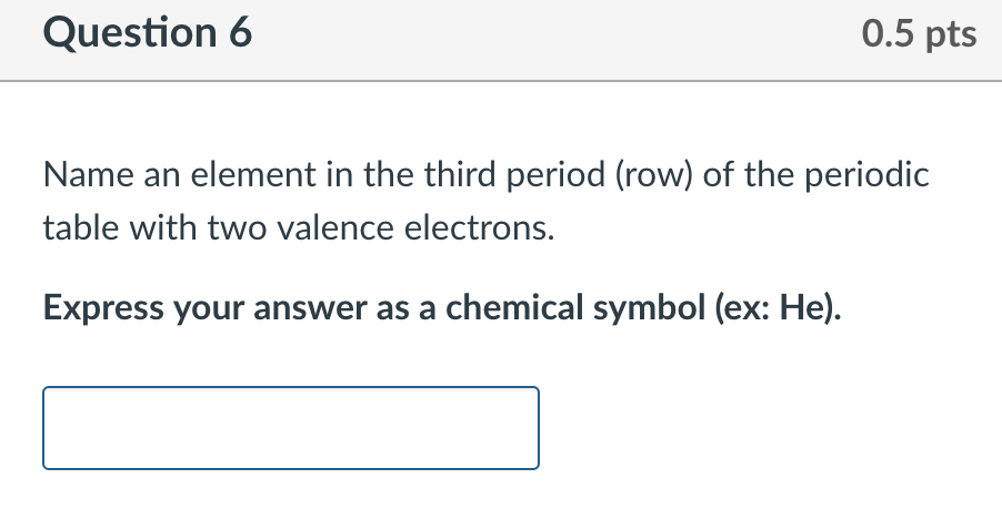 Solved question 6 05 pts name an element in the third pe question 6 05 pts name an element in the third period row of the urtaz Choice Image