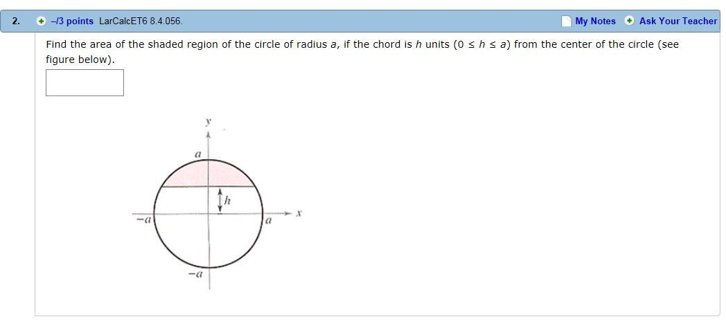 Solved Find The Area Of The Shaded Region Of The Circle O
