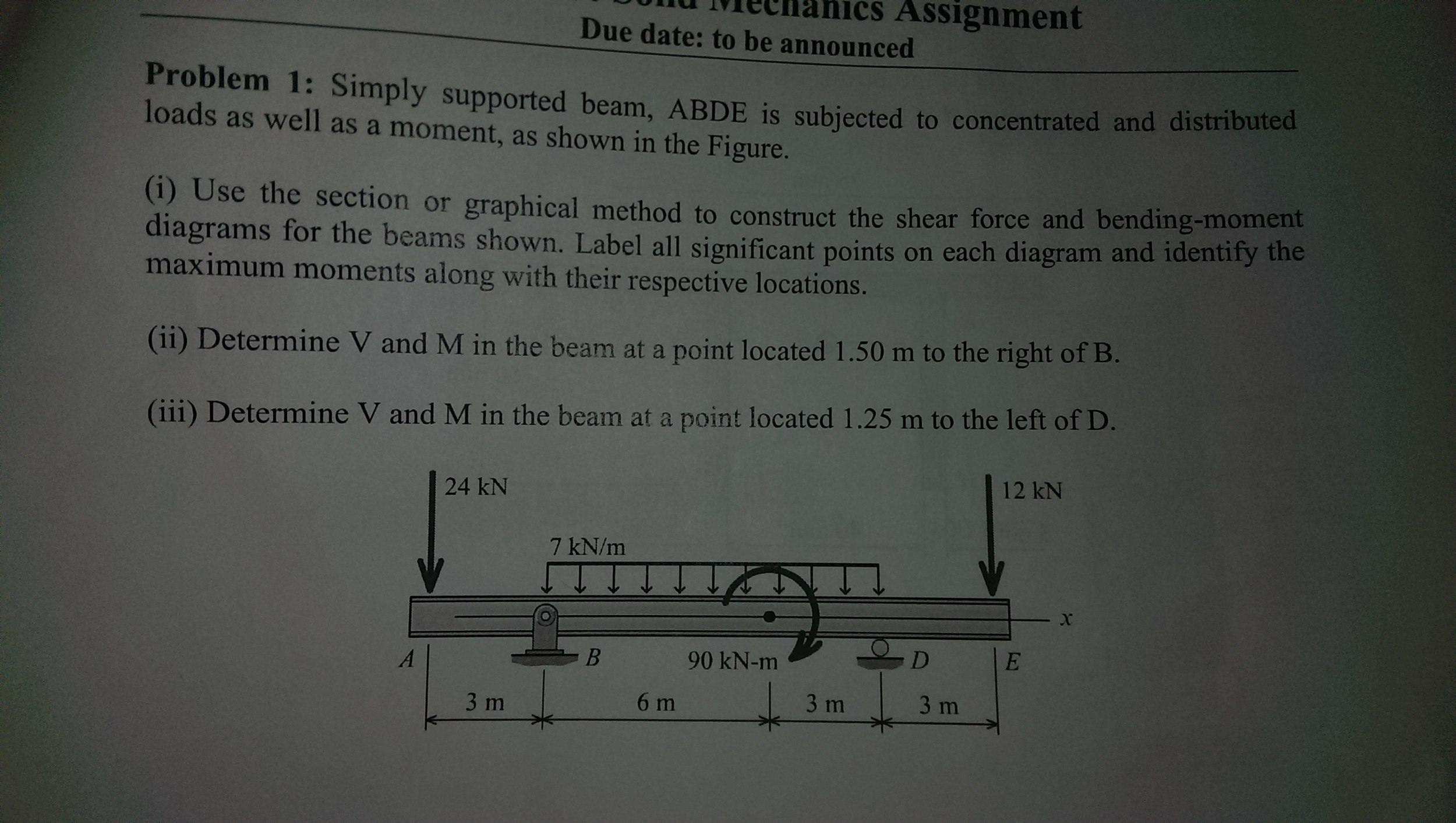 Solved Simply Supported Beam Abde Is Subjected To Concen Shear And Moment Diagram Distributed Load