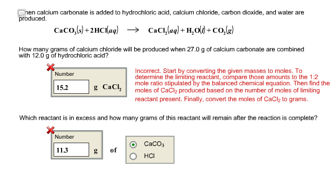 calcium carbonate and hydrochloric acid 2 essay Consider the reaction between calcium carbonate and hydrochloric acid: caco 3(s) + 2hcl(aq) → cacl 2(aq) + co 6 rates of reaction 245 rate of reaction defi ned.