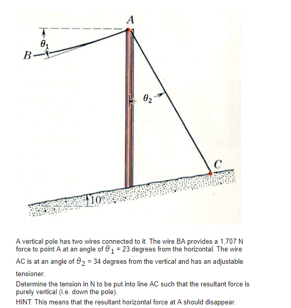 Solved: A Vertical Pole Has Two Wires Connected To It. The ...