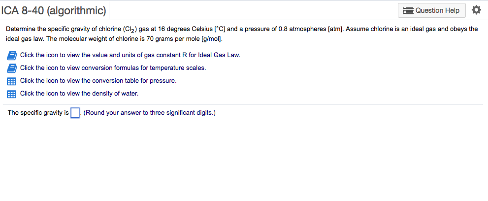 ICA 8 40 Algorithmic Question Help Determine The Specific Gravity Of Chlorine