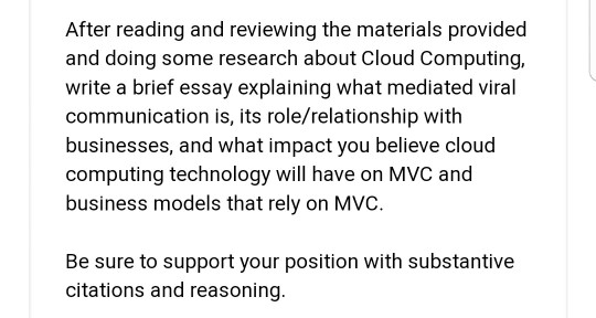 After Reading And Reviewing The Materials Provided  Cheggcom After Reading And Reviewing The Materials Provided And Doing Some Research  About Cloud Computing Write