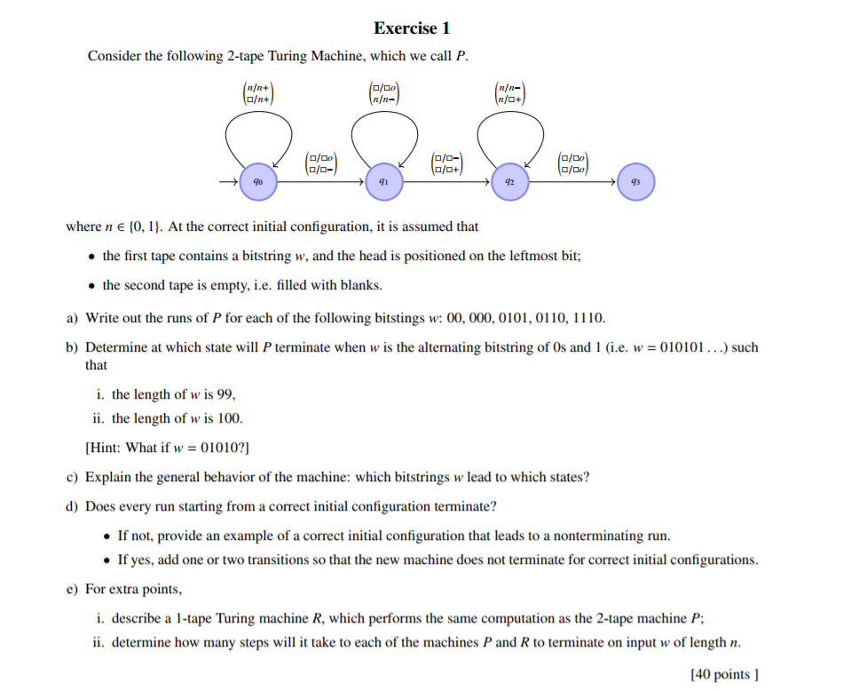 Exercise 1 consider the following 2 tape turing ma chegg exercise 1 consider the following 2 tape turing machine which we call p ccuart Images