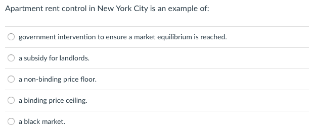 Solved Apartment Rent Control In New York City Is An Exam
