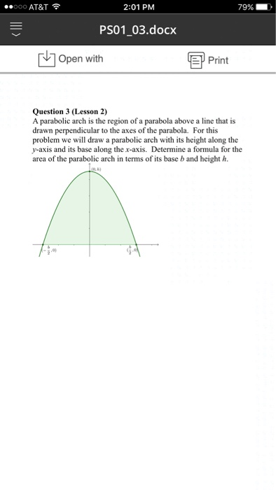 Solved: A Parabolic Arch Is The Region Of A Parabola Above