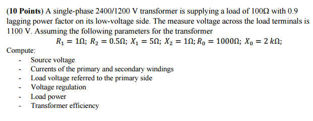 Electrical engineering archive april 03 2017 chegg 10 points a single phase 24001200 v transformer is supplying a fandeluxe Gallery