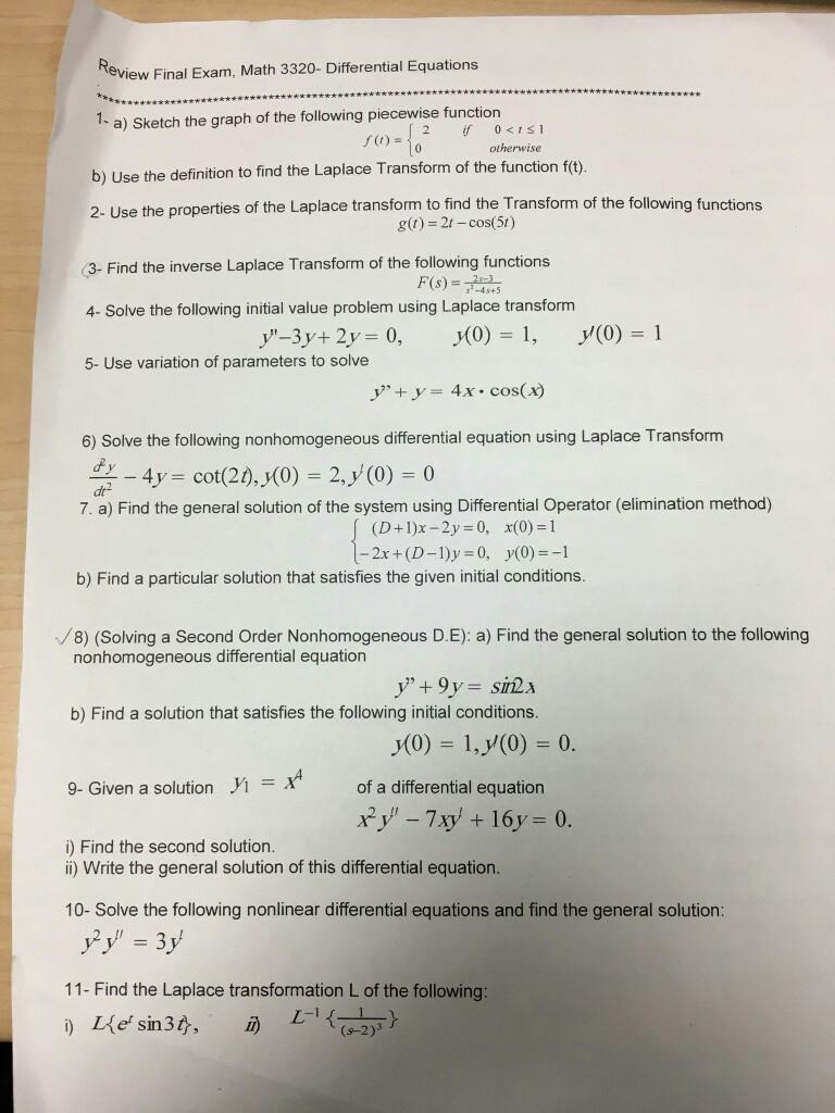 Solved: Review Final Exam, Math 3320- Differential Equatio