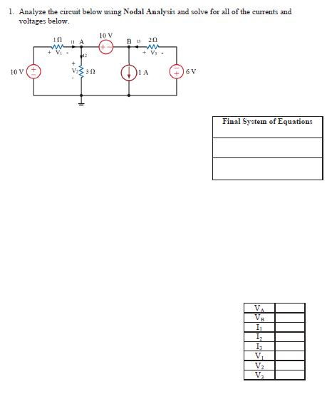Solved Analyze The Circuit Below Using Nodal Analysis And