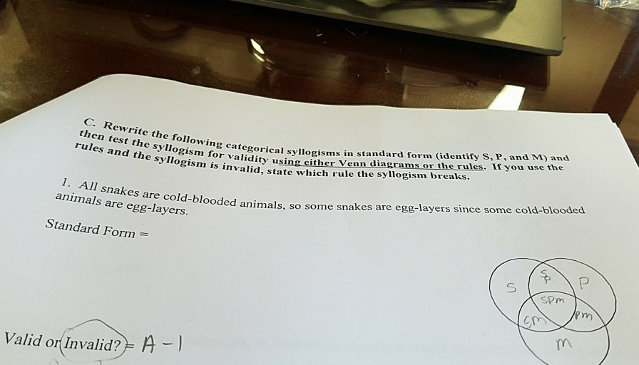Solved C Rewrite The Following Then Test The Syllogism F
