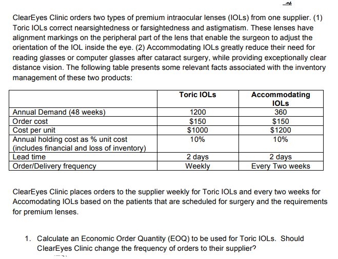 cba217c12d ClearEyes Clinic orders two types of premium intraocular lenses (IOLs) from  one supplier.