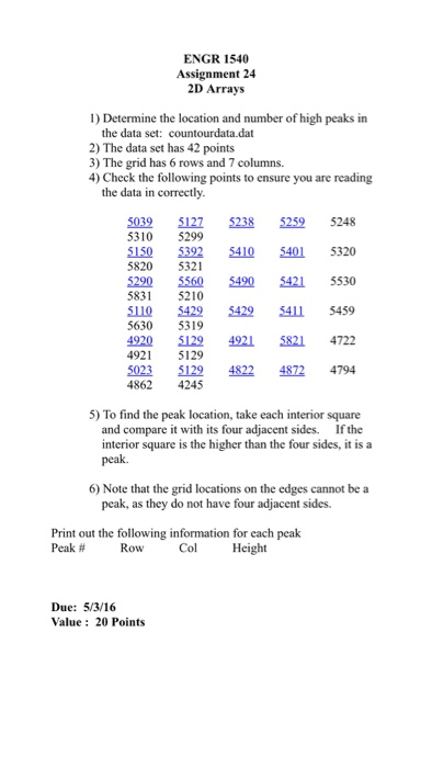 Solved: ENGR 1540 Assignment 24 2D Arrays 1) Determine The