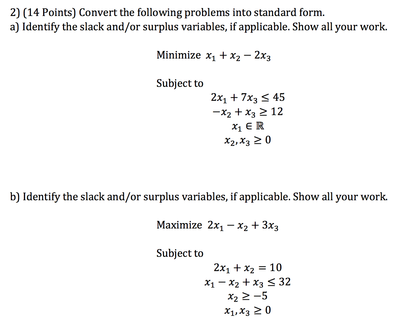standard form variables  Solved: Convert The Following Problems Into Standard Form ...