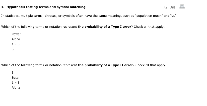 Solved Hypothesis Testing Terms And Symbol Matching In St