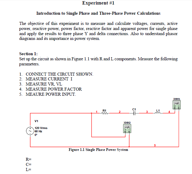 Solved: Experiment #1 Introduction To Single Phase And Thr
