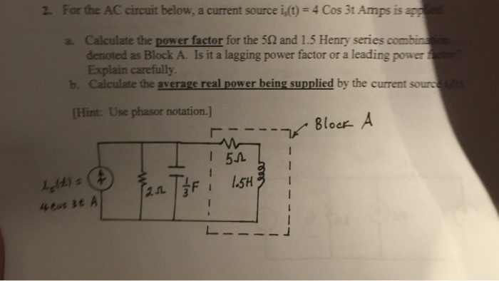 For the AC circuit below, a current source i,(t) =