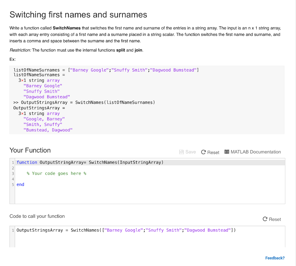 Solved: Switching First Names And Surnames Write A Functio