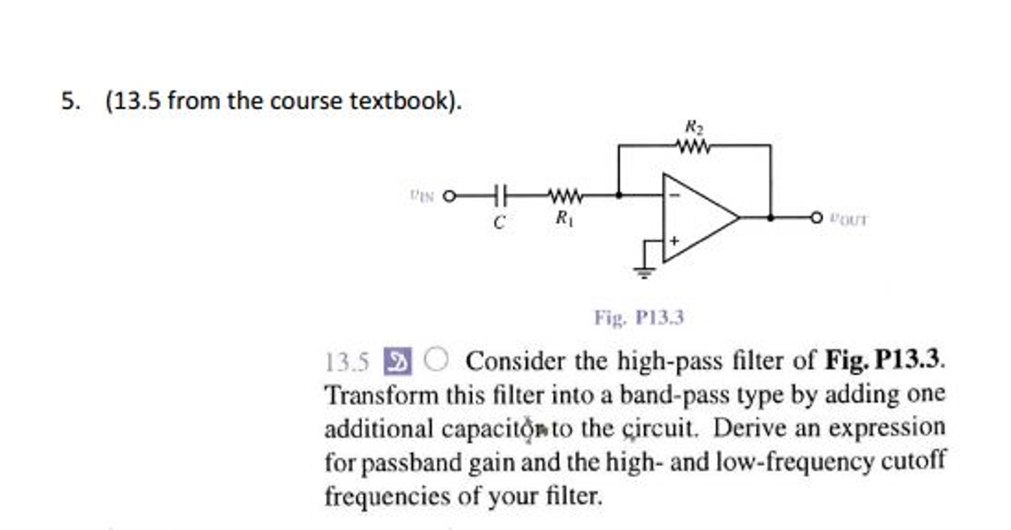 1039b1778971 Solved  Consider The High-pass Filter Of Fig. P13.3. Trans ...