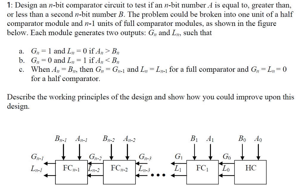 Design An N-bit Comparator Circuit To Test If An N