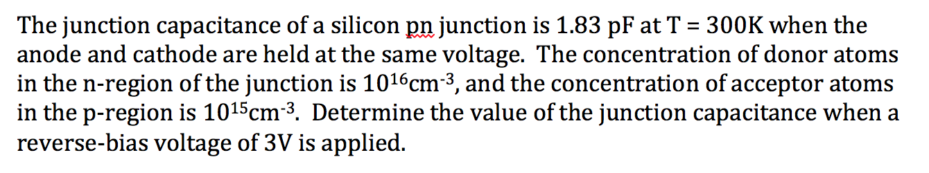 The junction capacitance of a silicon junction is