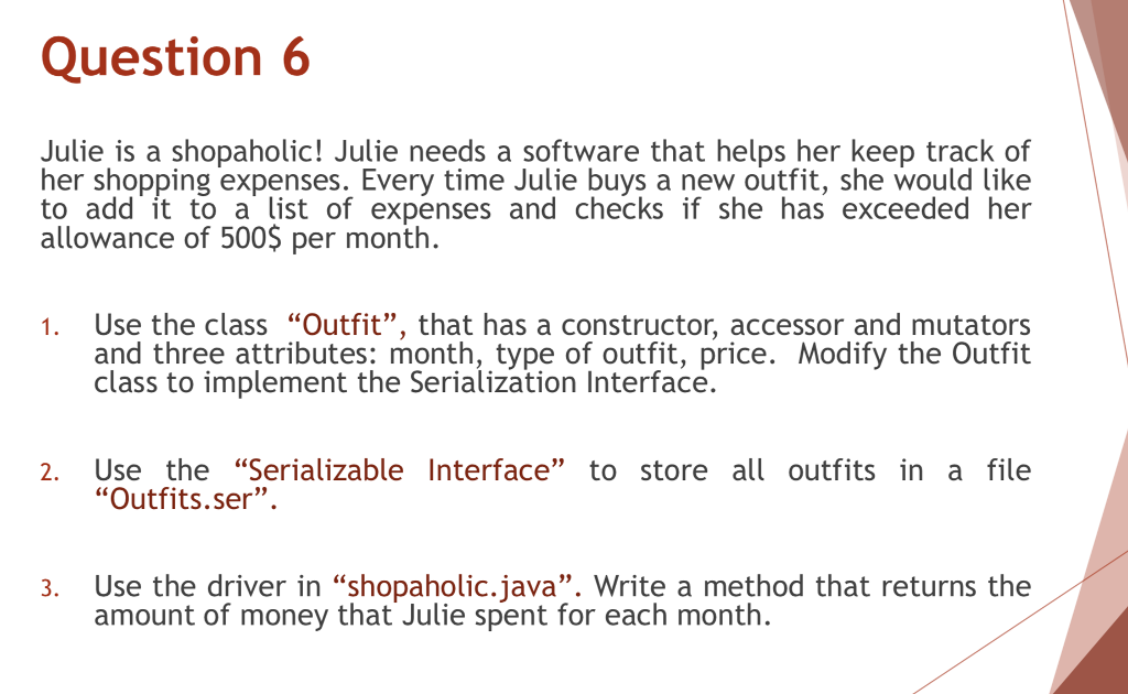 solved question 6 julie is a shopaholic julie needs a so