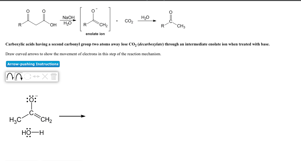 NaOH CO2 OH H20 enolate ion Carboxylic acids having a second carbonyl group  two atoms away