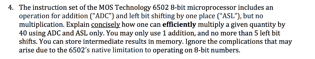 Solved The Instruction Set Of The Mos Technology 6502 8 B