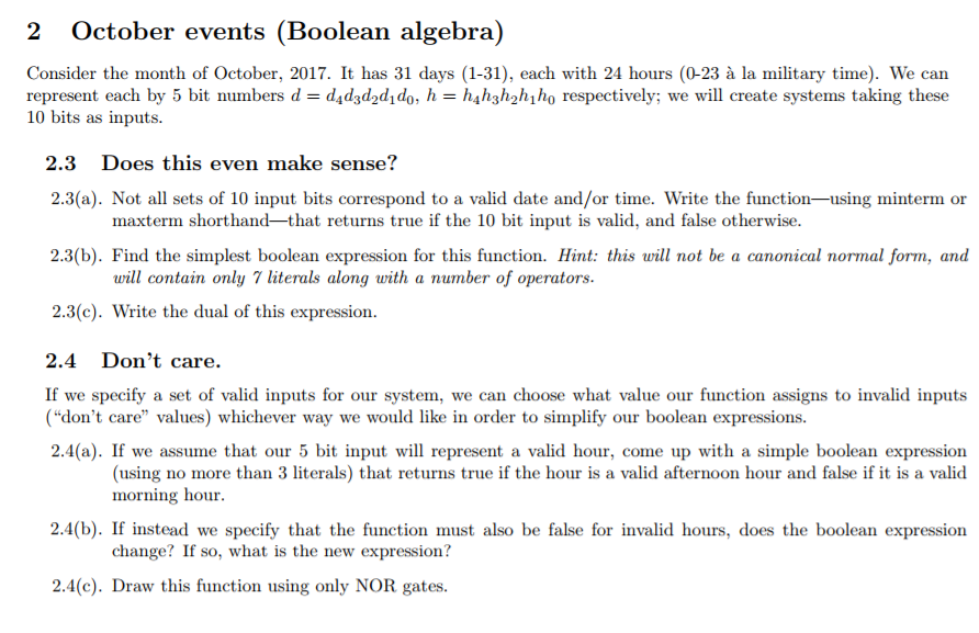 2 October Events (Boolean Algebra) Consider The Mo... | Chegg.com
