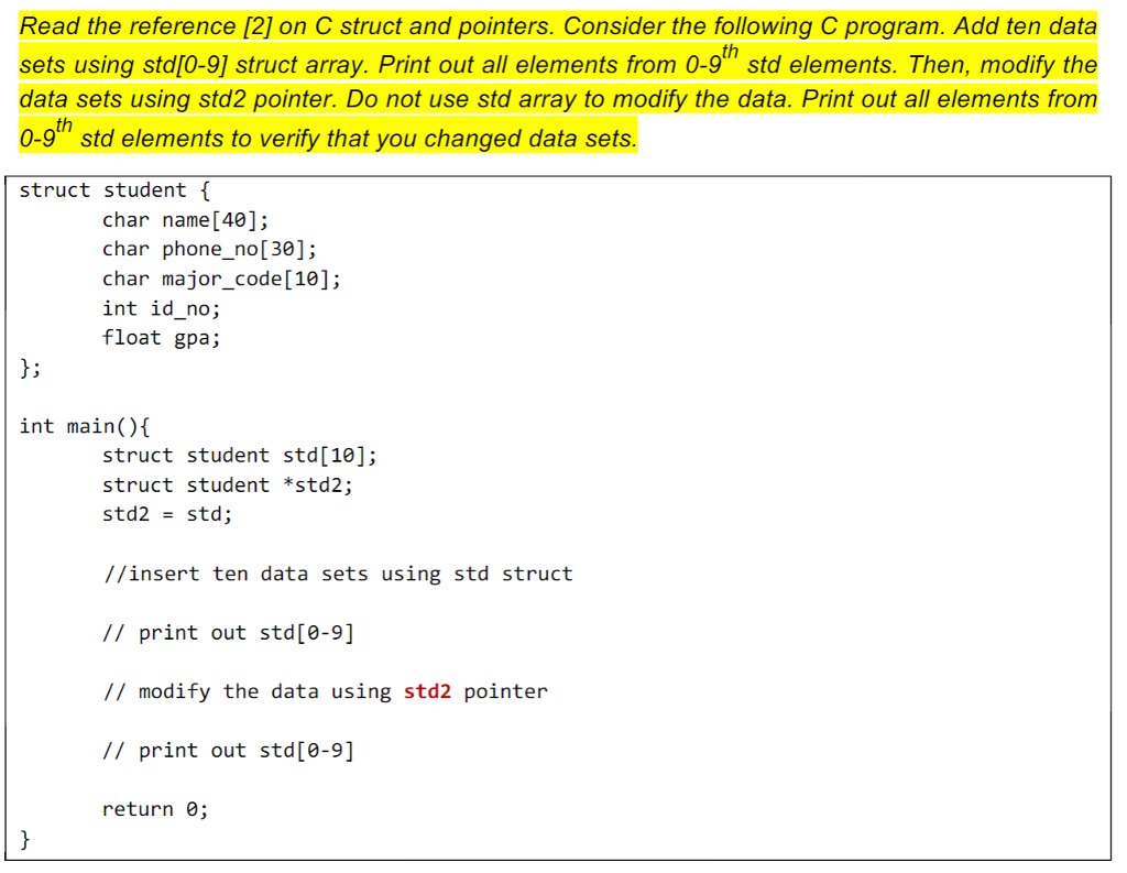Solved: How Can I Implement This C Code Usign Sruct And Po