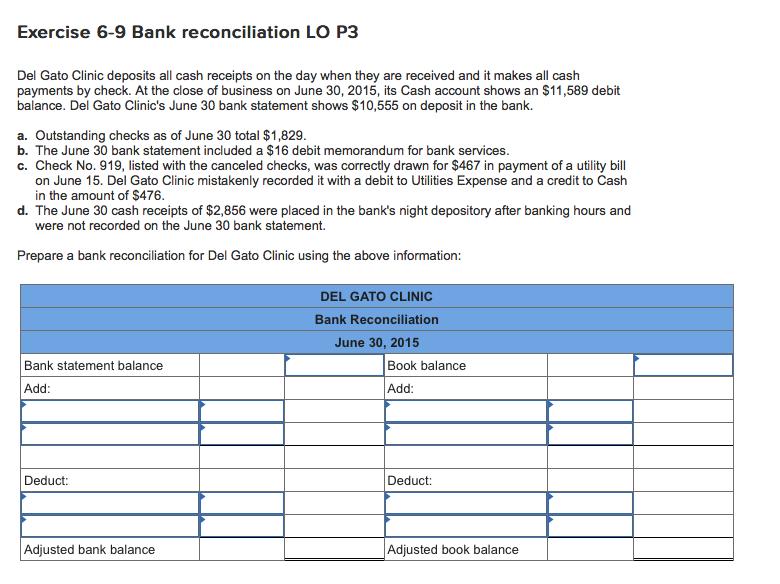 solved exercise 6 9 bank reconciliation lo p3 del gato cl