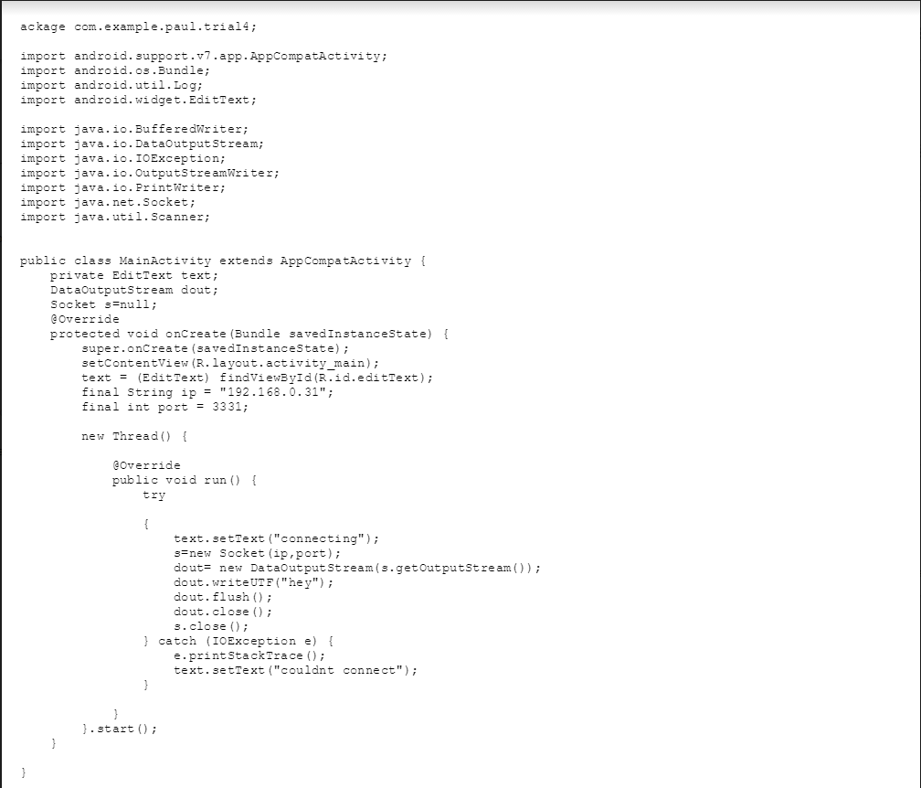 Solved: We Have A Java Server And A Android Client, We Can