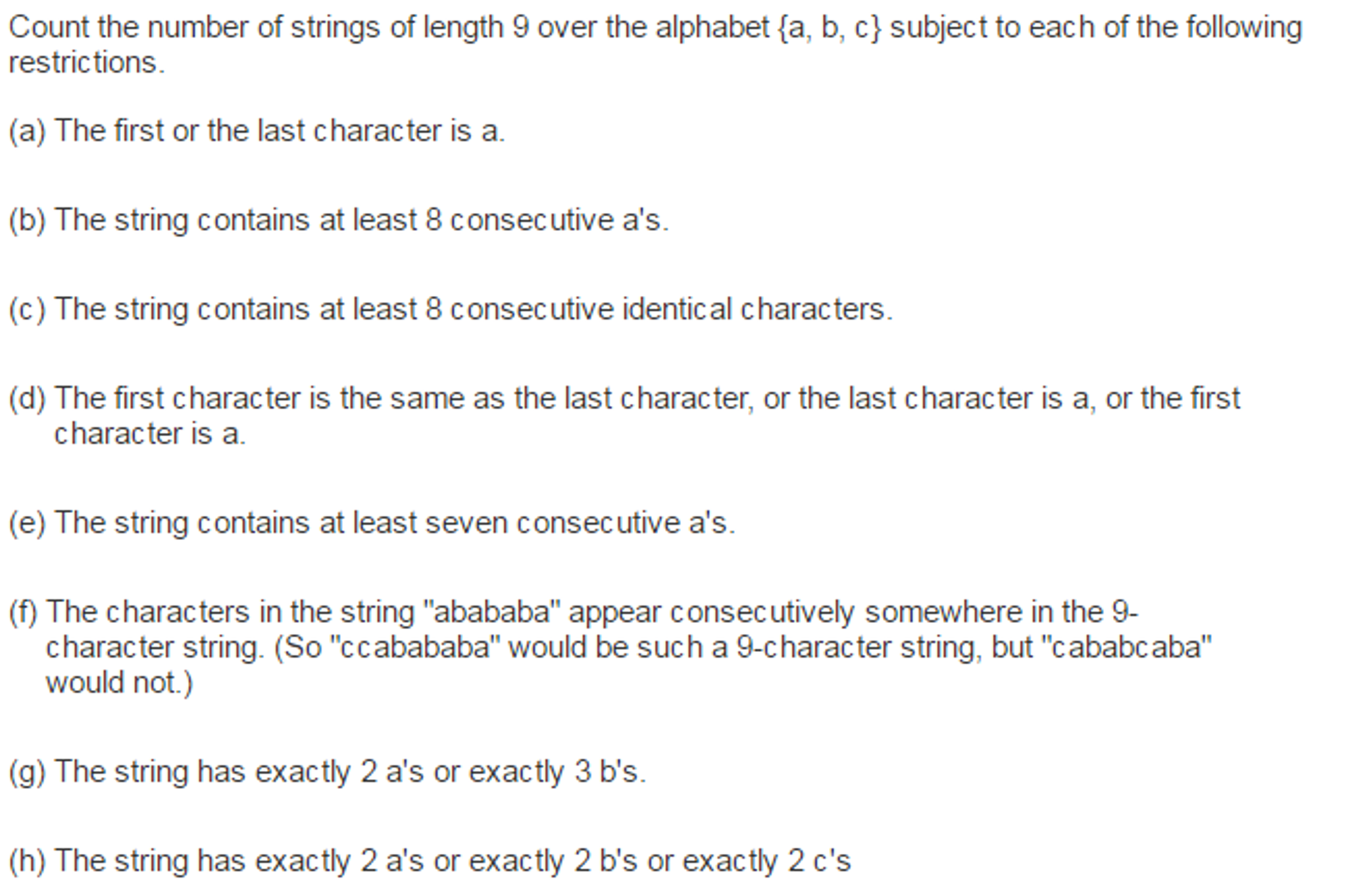 Solved Count The Number Of Strings Of Length 9 Over The A