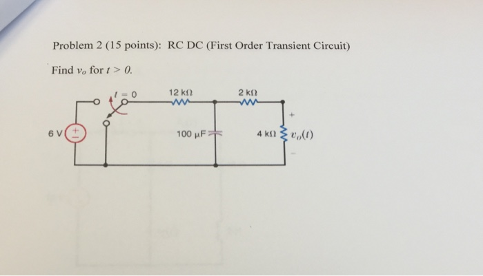 Problem 2 (15 points): RC DC (First Order Transient Circuit) Find vo fort>0 I=0 12 kΩ