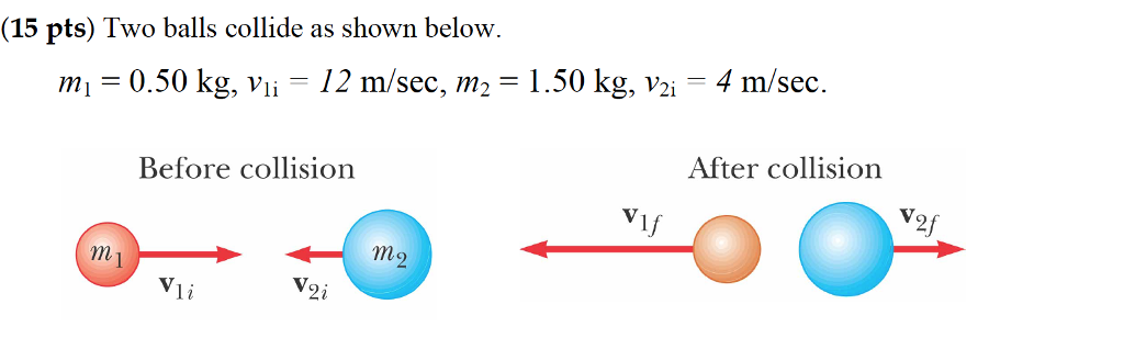 Solved Determine The Final Velocities Of The Two Balls As