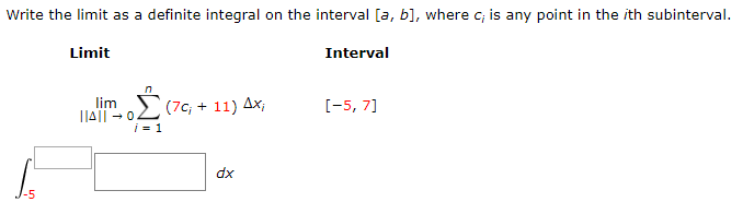 solved write the limit as a definite integral on the inte