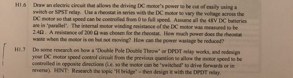Draw An Electric Circuit That Allows The Driving D ... Dc Motor Dpdt Relay Wiring on