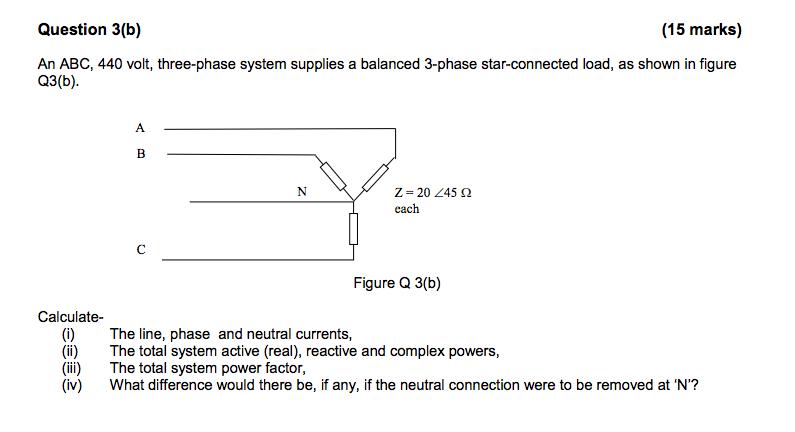 question 3(b) (15 marks) an abc, 440 volt, three