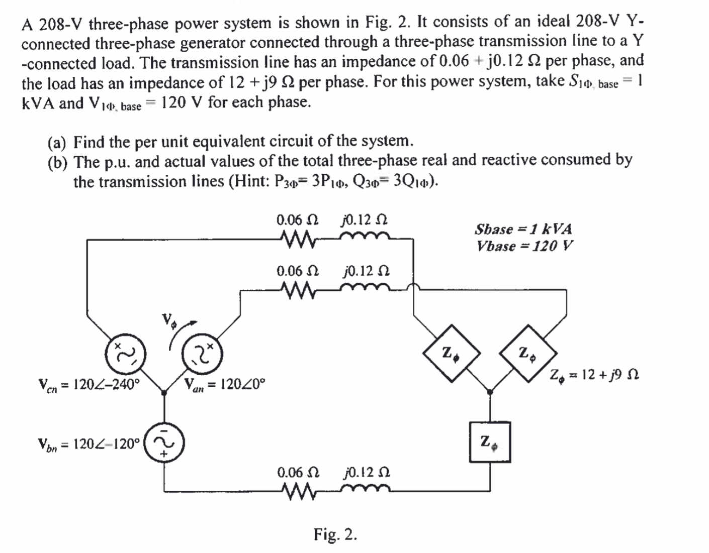 [SCHEMATICS_4ER]  Solved: A 208-V Three-phase Power System Is Shown In Fig. ... | Chegg.com | 208 3 Phase Generator Wiring Diagram |  | Chegg