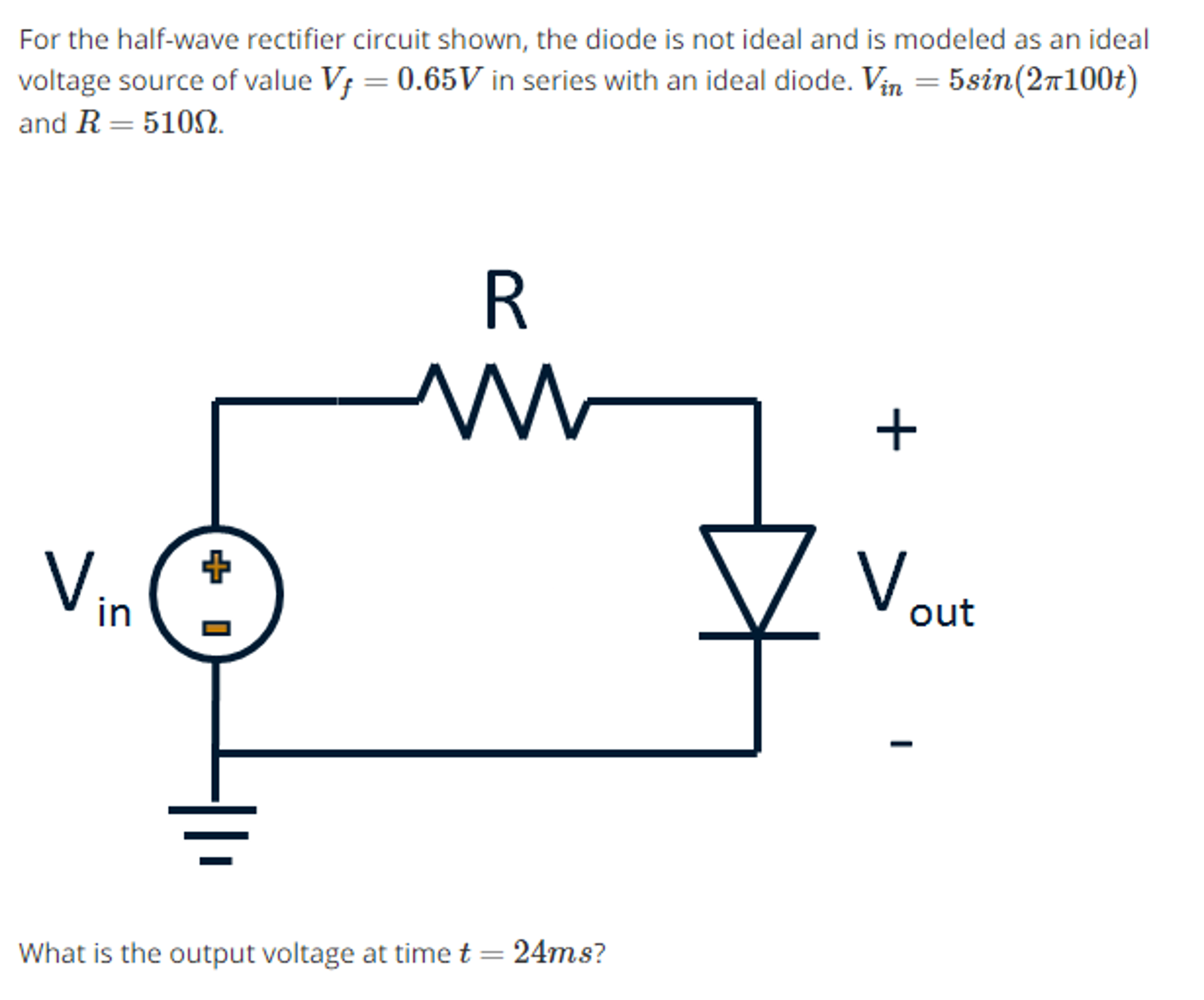 For the half-wave rectifier circuit shown, the dio