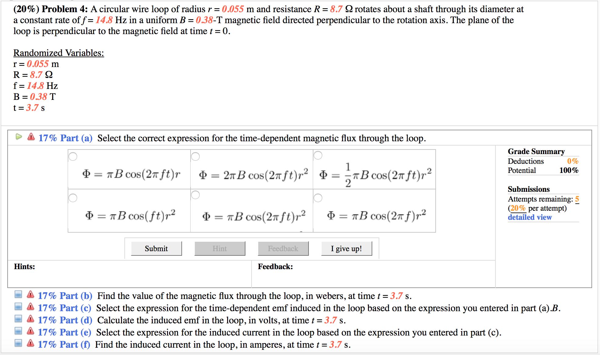 Solved: A Circular Wire Loop Of Radius R = 0.055 M And Res ...