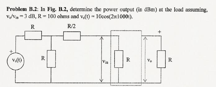 In Fig. B.2, determine the power output (in dBm) a