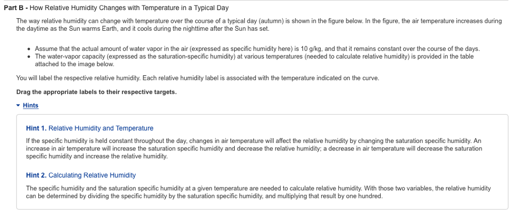 part b how relative humidity changes with temperature in a typical day the way relative