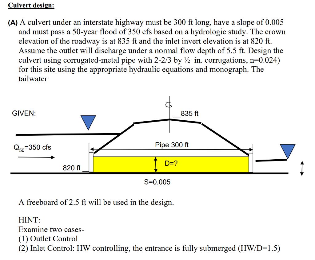 Culvert design (A) A culvert under an interstate highway must be 300 ft  sc 1 st  Chegg & Culvert Design: (A) A Culvert Under An Interstate ... | Chegg.com
