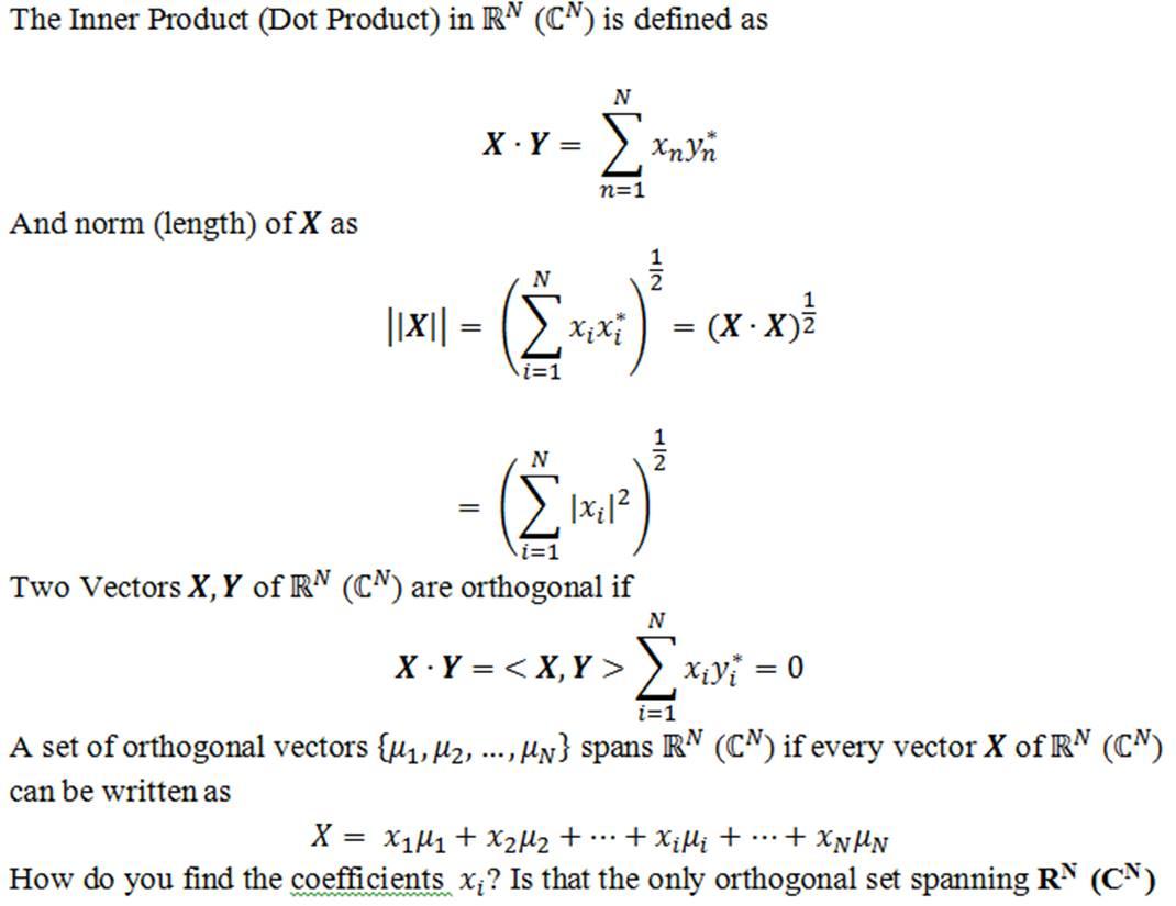 solved: the inner product (dot product) in r^n (c^n) is de... | chegg.com  chegg