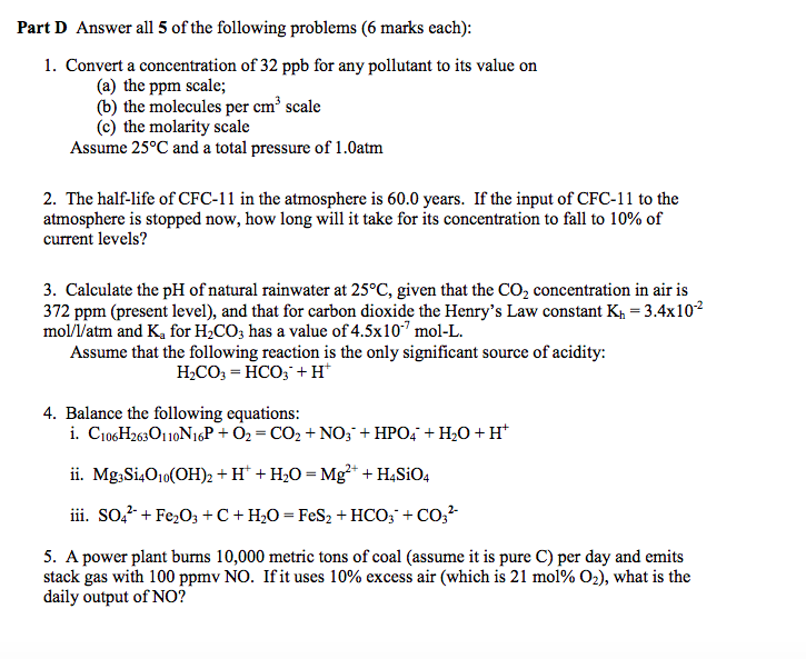 Solved: Part D Answer All 5 Of The Following Problems (6 M